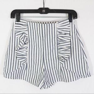 Zara Blue & White Stripe High Waist Short